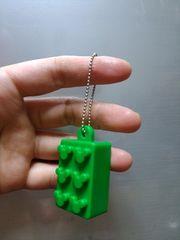 新品★ミッキー【LEGO】ブロックみたいなキーホルダー=緑=