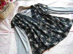 大きいサイズ4L花柄総レースチュニック&長袖カットソー2点セット☆ブラック