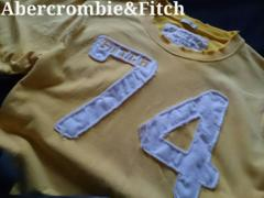 【Abercrombie&Fitch】アバクロ Vintage Destroy アップリケTシャツ L/イエロー