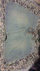 ダメージ加工 デニムスカート スペイン製 革紐編み上げ