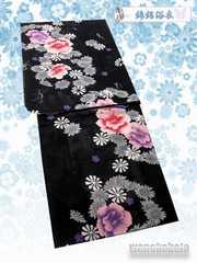 【和の志】女性用浴衣◇綿絽◇Fサイズ◇黒系・八重の花◇7