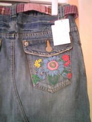 新品タグアリ フェリシモ 個性的 パッチワークベルト付き 刺繍 リメイク風デニムスカート
