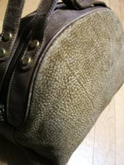 ボルボネーゼうずら柄スエード革製バニティハンドボストンバッグ