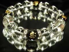 魔除け効果!!守護梵字オニキス×本水晶クリスタル数珠ブレスレット