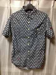 インブルーム 刺繍総柄 ワーク半袖シャツ S-Mサイズ38 細身 黒グレー ユーズド加工