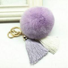 ★可愛いふわふわラビットファーチャーム★キーリング★薄紫