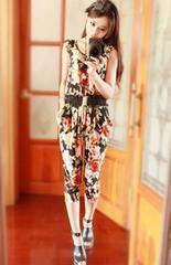 *【4L】大きいサイズ*花柄Flowerオールインワンサロペット 黒 ブラック 即決