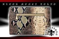 ヤクザチンピラオラオラ系/蛇パイソンワニ/クロコ革調/型押しセカンドバッグ鞄15016茶