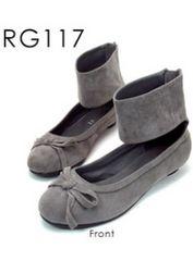 新品<REGOLITH>バックジップアンクルバレエシューズ合成皮革(グレーSS)reg117