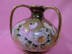 値下げ!メープルリーフ金盛りオールドノリタケ花瓶三つハンドル