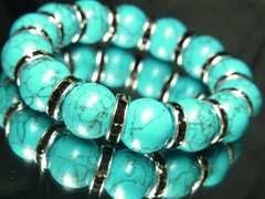 夏のオラオラブレスレット!!ターコイズ14ミリ数珠/カッコイイアイテム