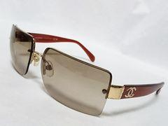 正規良 激レア CHANEL シャネル ココマークロゴサングラス 茶×ゴールド メガネ  兼用