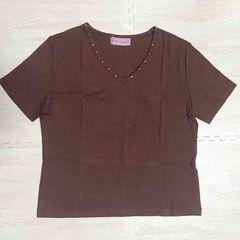 【美品】V首半袖Tシャツ/ブラウン/L/首元ストーン/秋色/