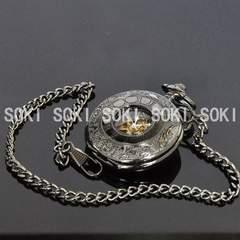 手巻き式★懐中時計/黒いメンズ機械時計・スケルトン