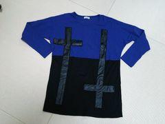 Latina◆ラティーナバイカラー十字架レザー切替ロンT黒青◆ANAP