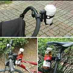 ドリンク ホルダー (ベビーカー,自転車,バイク用) (黒)