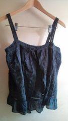 ■美品黒鍵編みレース裾フリルボレロ風キャミ■