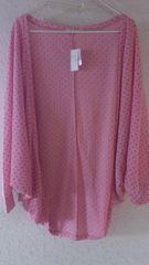 即決新品ピンクネイビー水玉ドット柄ドルマンゆったりカーデ羽織り