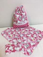 キティちゃん☆給食袋&ランチマット&マスク ハンドメイド