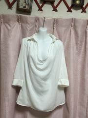 丸井ru 2way七分袖カシュクール衿抜きシャツ白ホワイト1