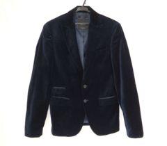 ザラ メンズ ベロア テーラード ジャケット ネイビー 紺 46 美品