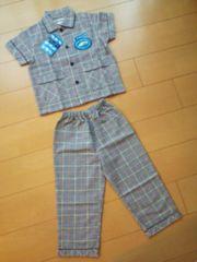 新品半袖パジャマ100紺☆新幹線サンリオ