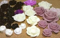 プラ薔薇カボション白黒紫36個福袋(送料込)