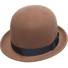 帽子♪フェルト りぼん付き ボーラーハット キャメル