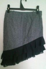 used 美品 「U.T.D」裾斜めカット*シフォンWフリル*スカート