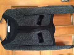 美品 プライムパターン カーディガン ニット グレー 黒 リボン