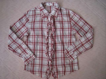 モバオクで買える「美品★ふりふり長袖シャツ♪M」の画像です。価格は200円になります。