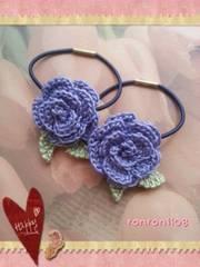 ハンドメイド/手編み♪レース編みお花のヘアゴム2個セット 558