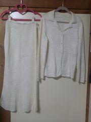 素敵・リボン編み(白)ニットスーツ♪9BR