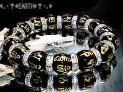 天然石★12ミリ六字真言黒瑪瑙AAAロンデルビーズ数珠