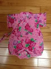 ゆかた 浴衣 甚平 70 美品 ピンク キラキラ 花柄