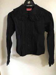 美品 ベイビー〜 レースフリル襟、袖 コットン長袖ブラウス 黒