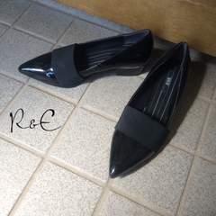 R&E エナメルポインテッドパンプス