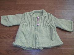 子供服★ハンドメイド 毛糸のラメ入りコート 黄緑
