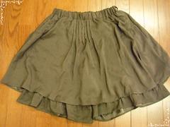 ★スカート風パンツ L カーキー