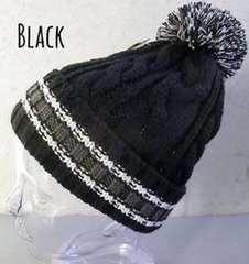 ボンボンニット帽 ケーブル編み オールドカラーライン ビーニー