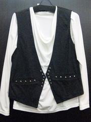 ベスト付き長袖Tシャツ☆M【新品タグ付き】グレー×オフホワイト