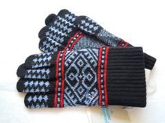 ヴィヴィアン メンズ 手袋 オーブ刺繍 幾何学 ブルー