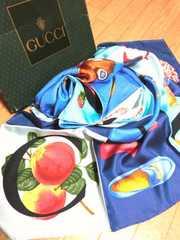 新品 グッチ/GUCCI お洒落ロゴ絵柄ファッションシルクスカーフ