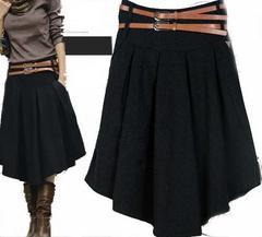 *L〜2L相当★ベルト付きミモレ丈ウールスカート2本ベルトデザイン 黒*即決