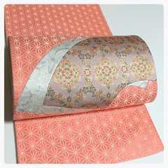 正絹 袋帯 きりばめ 更紗 お太鼓柄 地紋 麻の葉 中古品