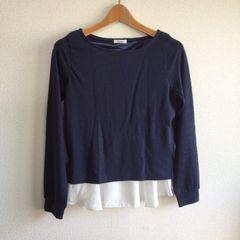 ◆シャツレイヤードニット◆ネイビー×ホワイトM★今期購入♪シンプルコーデ