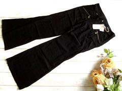 新品 MUGLA 麻 リネン 黒 レディース パンツ L 67
