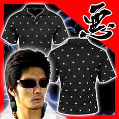 送料無料ヤンキーチンピラオラオラ系総柄半袖ポロシャツ/ホストお兄系服15012黒-XL