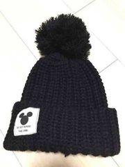 ブラックニットボンボン帽子