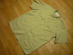 ディッキーズ状態良好メンズXL(大きめ)半袖ワークシャツカーキ